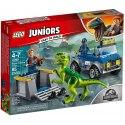 Ukažte svému dítěti, jak strhující můžou být průzkumy a dobrodružství v Jurském světě LEGO Juniors s touto napínavou sadou Vozidlo pro záchranu raptora.