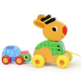 Vilac Dřevěná hudební tahací hračka Zajíc se želvou