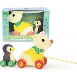 Vilac Dřevěná hudební tahací hračka Medvěd s tučňákem