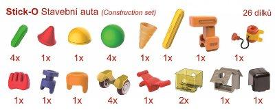 Přehled dílků stavebnice Stick-O Stavební auta